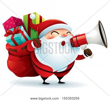 Santa Claus carrying sack and holding megaphone