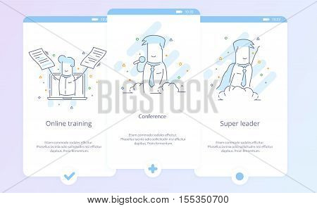 Premium Quality Line Icon And Concept Set Onboarding: Conference, Online training, Super leader, Businessman,