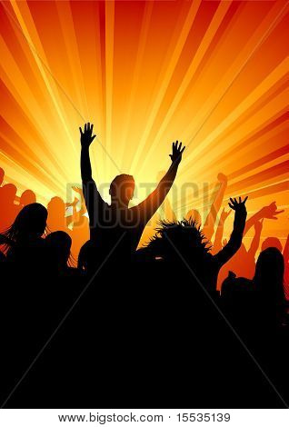 A large group of people at a concert. Vector illustration.