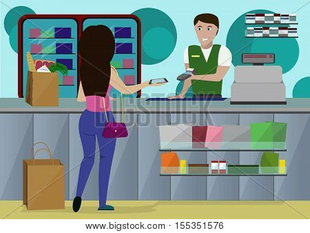 Woman is shopping at a supermarket, produces a wireless payment by smartphone. Vektor illustration.
