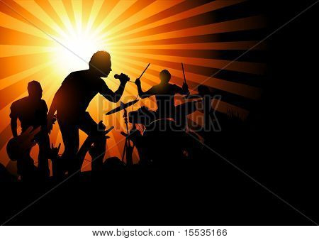 A band playing to a crowd of fans...vector illustration.