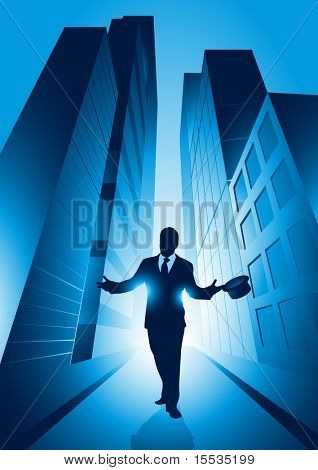 A businessman set against the big city. Vector illustration.