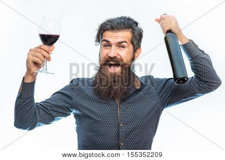Bearded Man With Red Wine