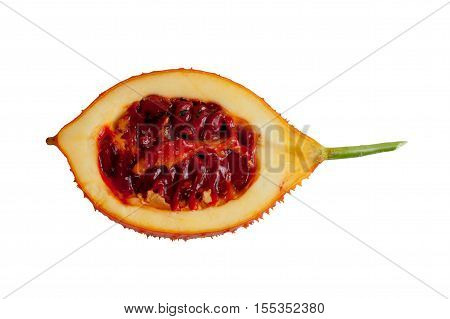 Baby Jackfruit isolated sliced in half (Or Cochinchin Gourd Spiny Bitter Gourd Sweet Gourd Momordica cochinchinensis) on white objects with clipping paths