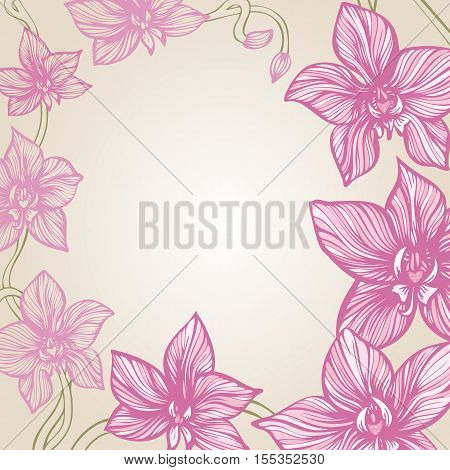 Orchid decorative border. Hand drawn tropic flowers. Decorative background with blooming orchid. Vector illustration.
