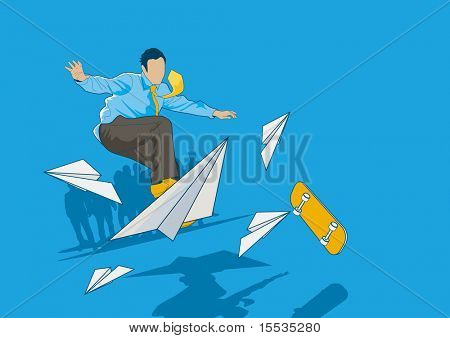 Bored Businessman flips his board and flies the paper plane...Daydreaming? Maybe...