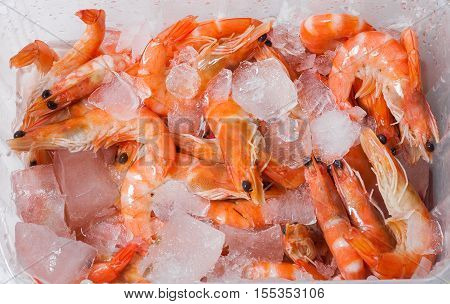 Shrimp cocktail background with a close up view of a group of fresh delicious refrigerated crustaceans as gourmet seafood for a party or dinner at a restaurant serving food from the sea. poster
