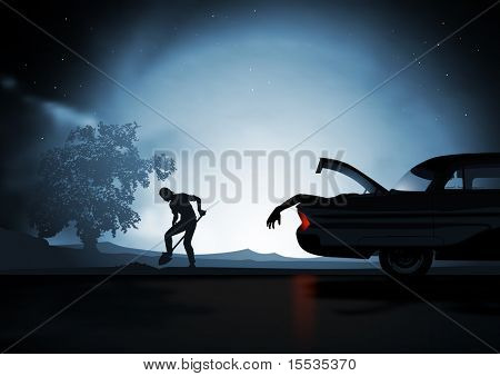 Under moonlight a man diggs a hole in the ground, His car is still running and the boot is open...