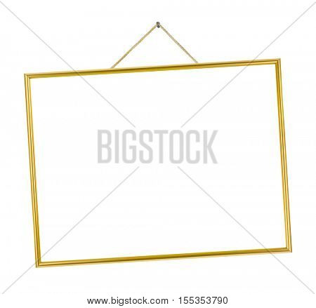Metal frame on string isolated on white background