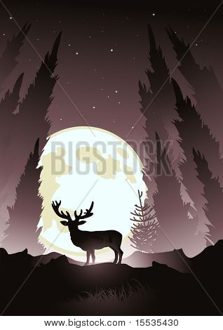 A stag silhouetted by the moonlight. Winter vector illustration