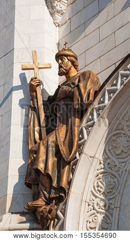 RUSSIA, MOSCOW, MARCH 26, 2016. sculpture on pediment of Cathedral of Christ Savior in Moscow Apostolic Orthodox Prince Vladimir, who baptized Russia. sculptor Klodt. Restored by sculptor Konstantinov.