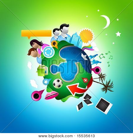 A vector world. All elements individually grouped. Vector illustration