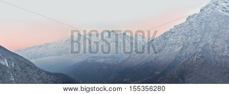 High Himalaya mountain sunrise beautiful panorama orange