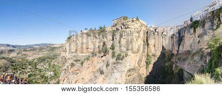 Panoramic view of the New Bridge over Guadalevin River in Ronda Malaga Spain. Popular landmark