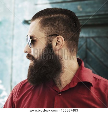 fashionable brutal bearded man.handsome hipster man with beard