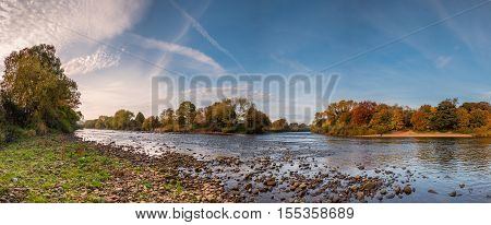 Meeting of the Waters panorama, where the River Tyne is formed when the Rivers North and South Tynes converge at the confluence near Warden in Northumberland, seen here in autumn