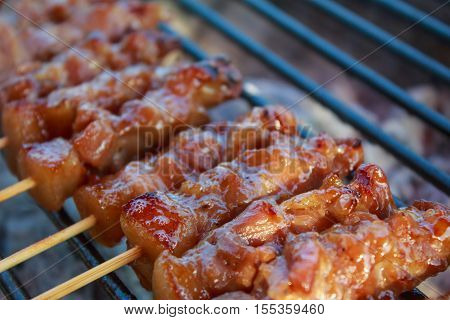 Close-up Thai styled pork babeque on grille