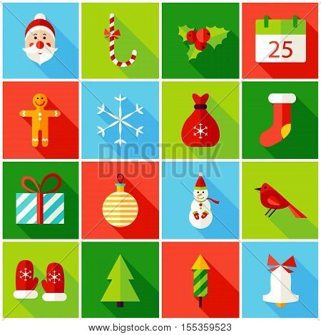 Christmas Colorful Icons. Vector Illustration. Winter Holiday. Collection of Rectangle Items with Long Shadow.
