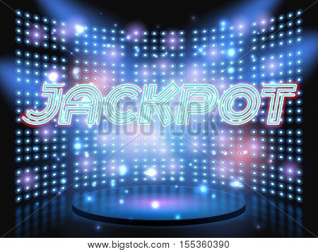 Jackpot casino win neon lettering live stage on background with lightbulb glowing wall. Vector abstract background