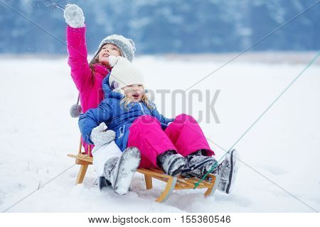 Two cute little sisters having fun with a sleight in beautiful winter park