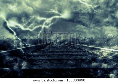Lightning Over Railroad