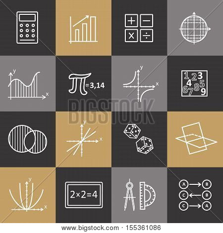 Set of modern thin line icons for math. Vector illustration with different elements.