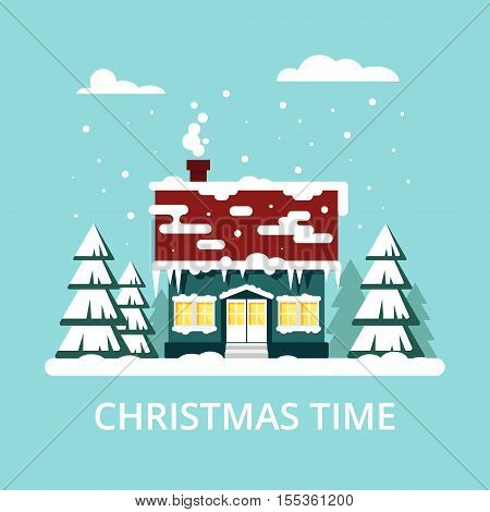 Winter cozy house with fits on blue background. Christmas time, happy new year - vector illustration. Snow flat city urban landscape, december cold xmas