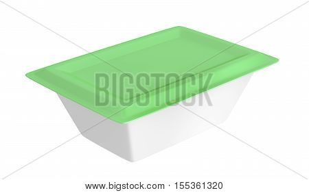 Plastic container for margarine butter or cream cheese isolated on white background, 3D illustration