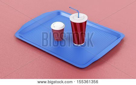 Plastic tray with coffee cup and soft drink on red table, 3D illustration