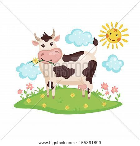 Cute Cow on a meadow with flowers isolated on white background. Farm animal. Cow in cartoon style. Vector illustration.