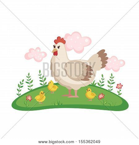 Cute mother hen with its baby chicks on a meadow with flowers isolated on white background. Farm birds. Hen in cartoon style. Vector illustration.