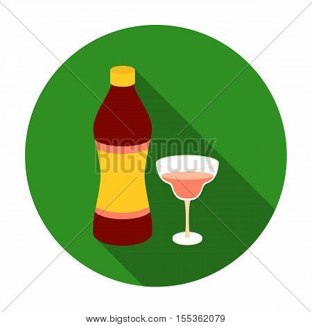 Vermouth icon in flat style isolated on white background. Alcohol symbol vector illustration.