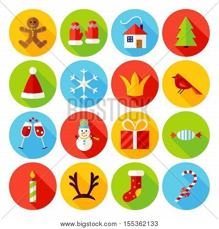 New Year Flat Icons. Vector Illustration. Merry Christmas Holiday. Collection of Circle Symbols with Long Shadow.