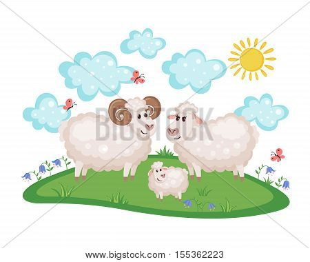 Happy sheep family on a meadow with flowers and butterflies isolated on white background. Farm animal. Sheep in cartoon style. Family concept. Vector illustration.