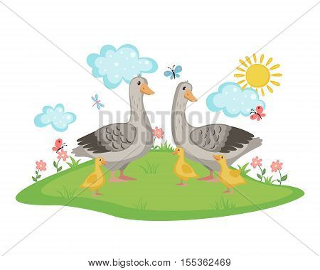 Happy Goose family with geese and goslings on a meadow with flowers and butterflies isolated on white background. Farm birds. Goose and goslings in cartoon style. Vector illustration