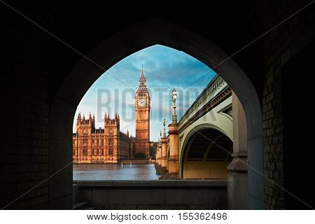 Palace of Westminster and Big Ben during sunrise London The United Kingdom of Great Britain and Northern Ireland