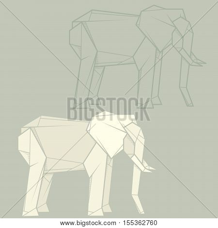 Set vector simple illustration paper origami and contour drawing of elephant.