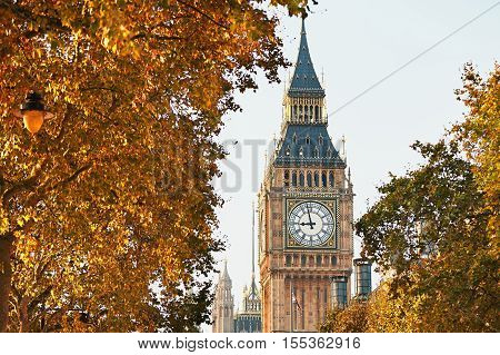Palace of Westminster and Big Ben in sunny autumn day London The United Kingdom of Great Britain and Northern Ireland