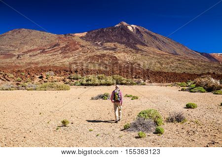 Tourist Man Treking Through Las Canadas National Park