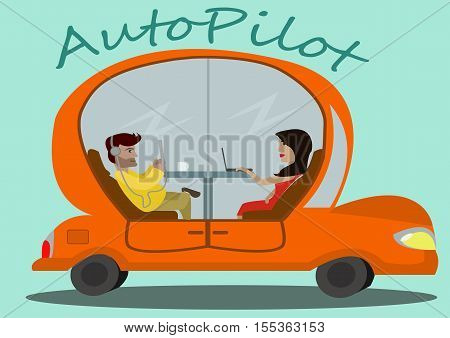A cartoon orange car with passengers in it moving without a driver on light blue background with simple text.