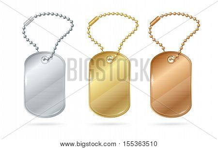 Cat Dog Animal Tags or Medallion of Different Metal. Vector illustration