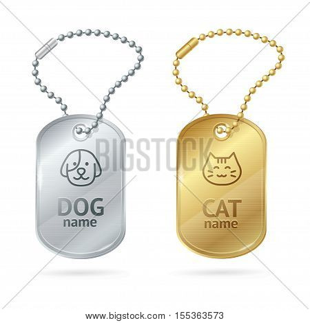 Cat Dog Animal Tags or Medallion. Cute Pet. Vector illustration