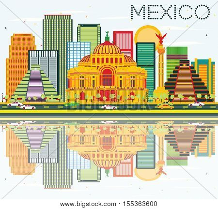 Mexico Skyline with Color Buildings, Blue Sky and Reflections. Vector Illustration. Business Travel and Tourism Concept with Historic Buildings. Image for Presentation and Banner.