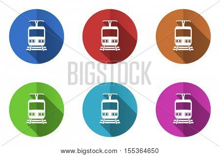 Flat design vector train icons