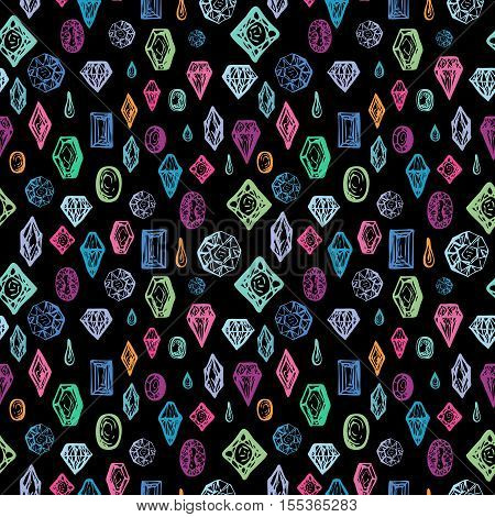 Bright seamless background with diamonds. Repeatable motif with hand drawn gems and crystals. Abstract doodle gems. Vector illustration.