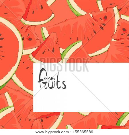 Background of summer watermelon slices with space for signatures