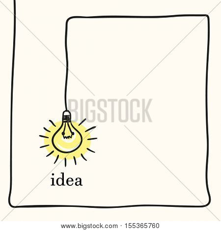 Light bulb creative concept of idea, Hand drawn illustration Vector sketch