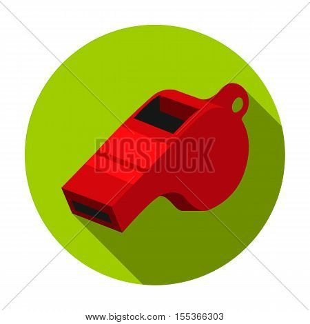 Whistle icon in flat style isolated on white background. Sport and fitness symbol vector illustration.
