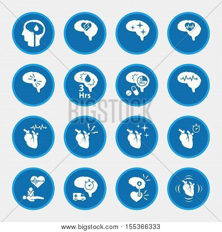 icon set of  stroke disease for infographic