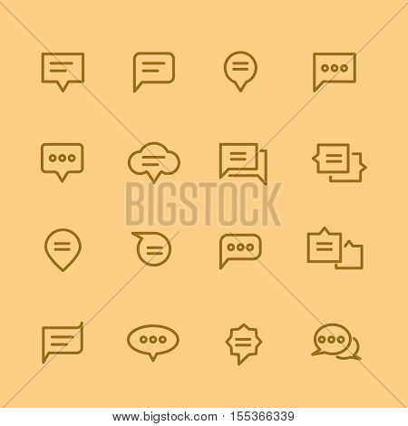 Speech bubble icons. Linear set of speech bubble, elements communication in form bubbles, vector illustration